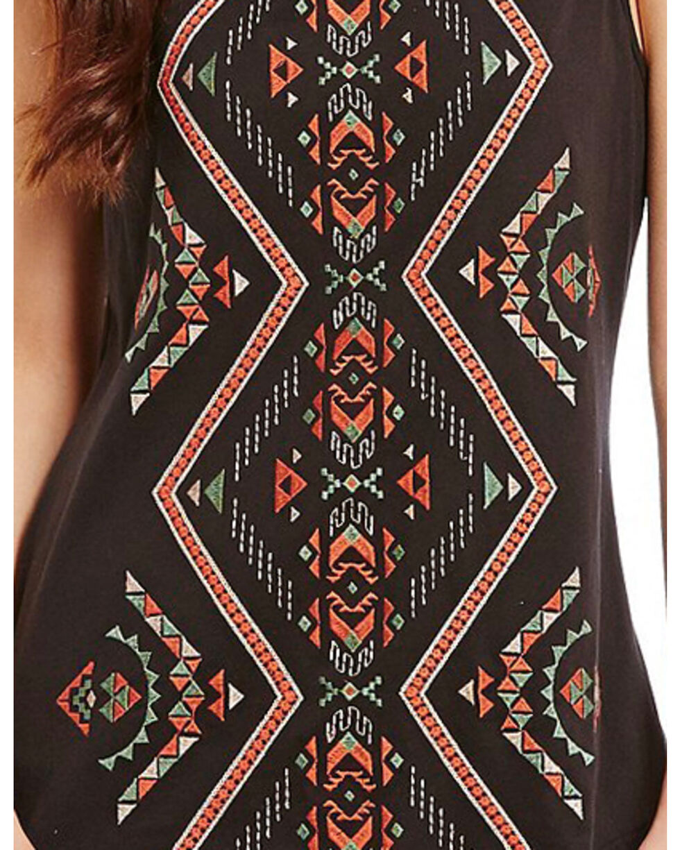 Miss Me Women's Embroidered Tribal Print Top , Black, hi-res