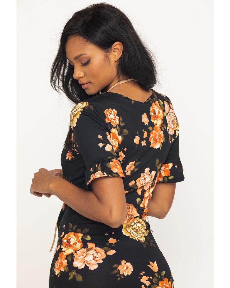 Red Label by Panhandle Women's Black Floral Wrap Dress, Black, hi-res