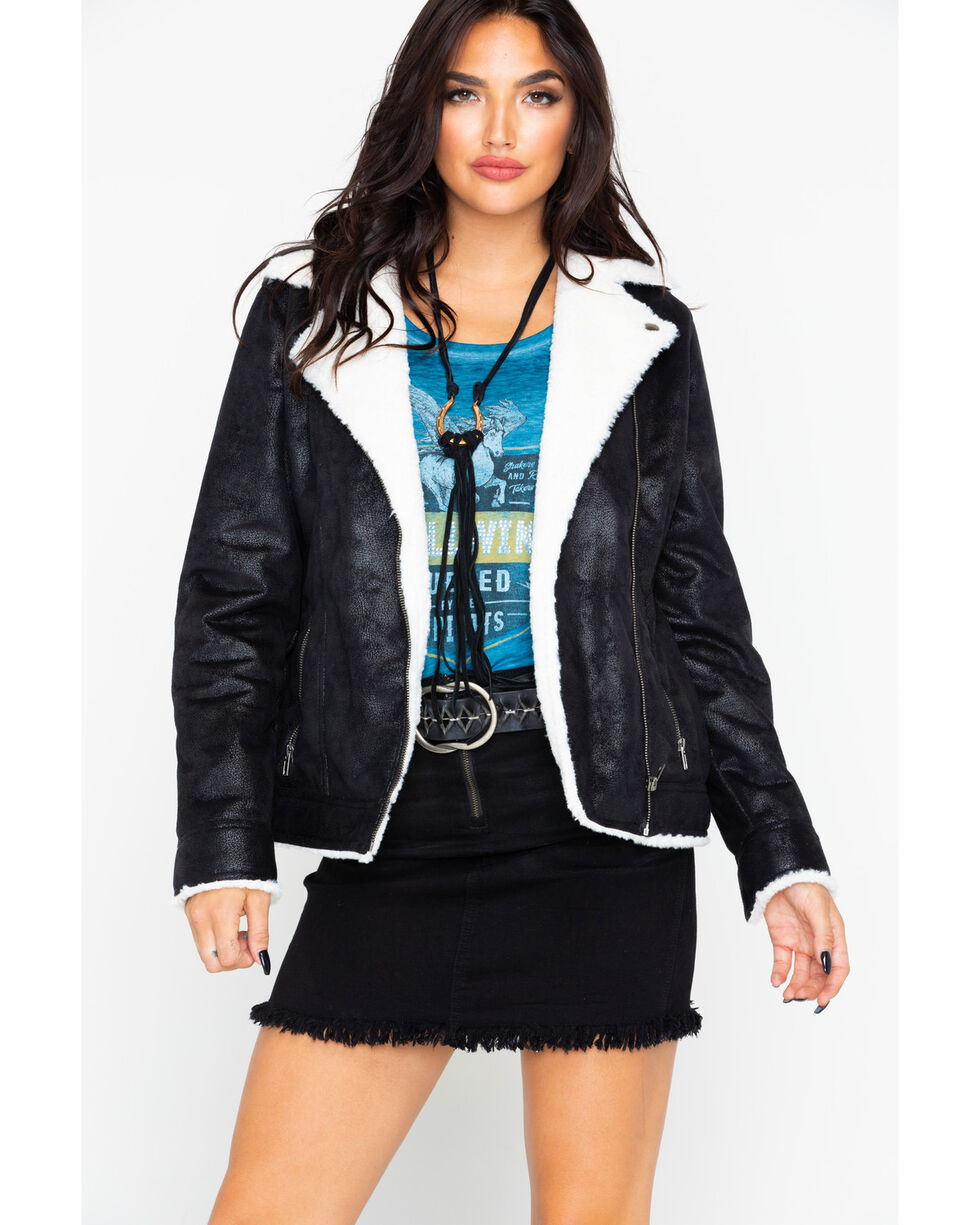 Idyllwind Women's The Moto Sherpa Jacket , Black, hi-res