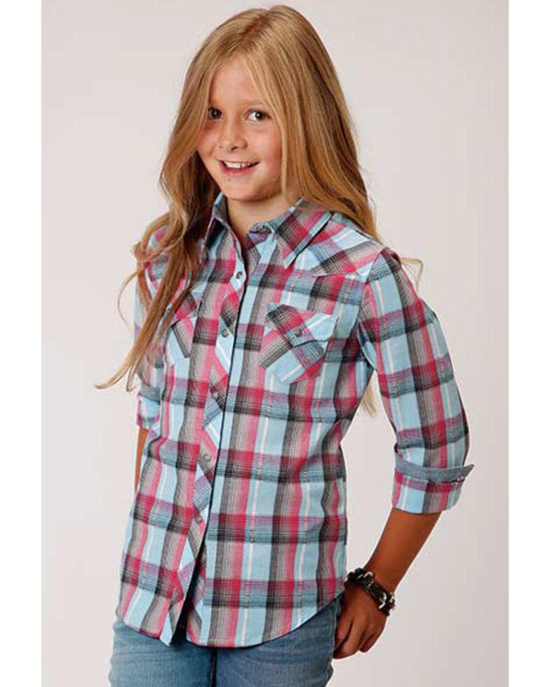 West Made Girls' Blue Multi-Color Plaid Long Sleeve Western Shirt, Blue, hi-res