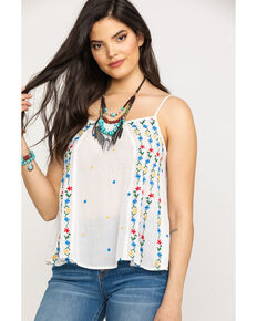Miss Me Women's Ivory Floral Side Embroidered Spaghetti Strap Top, White, hi-res