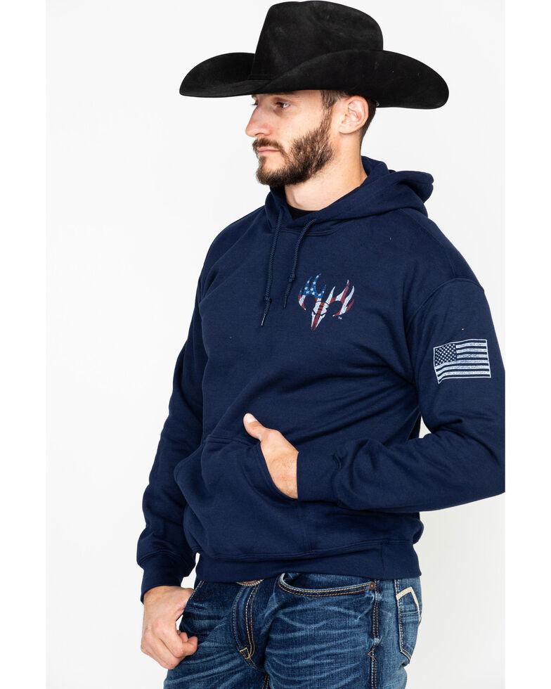 Buck Wear Men's American Flag Pack Graphic Hoodie , Navy, hi-res