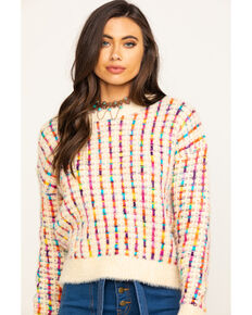 En Creme Women's Multi-Color Eyelash Sweater, Cream, hi-res