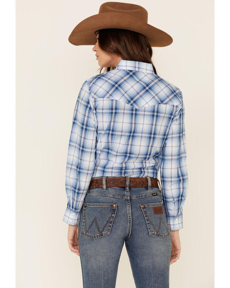 Ely Walker Women's Blue Plaid Long Sleeve Western Core Shirt , Blue, hi-res