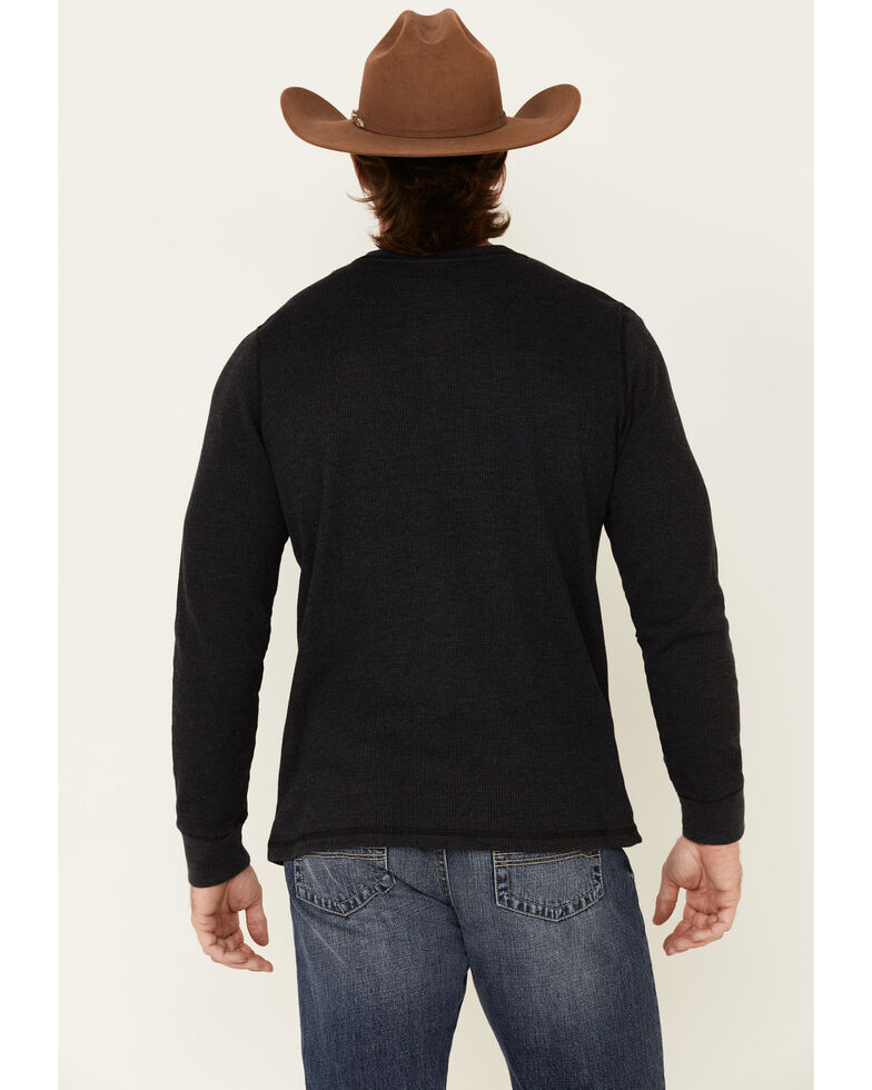 North River Men's Waffle Henley Knit Long Sleeve Shirt , Charcoal, hi-res