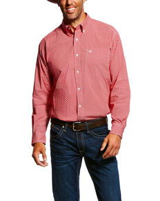 Ariat Men's Garry Geo Print Long Sleeve Western Shirt , Red, hi-res