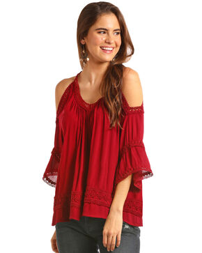 Rock & Roll Cowgirl Women's Lace Trim Cold Shoulder Blouse, Wine, hi-res