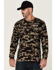 Carhartt Men's Black Blind Duck Camo Print Loose Graphic Long Sleeve T-Shirt , Black, hi-res