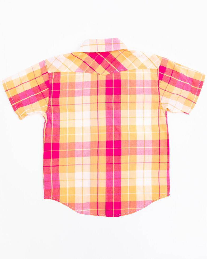 Shyanne Toddler Girls' Orange & Pink Medium Plaid Snap Short Sleeve Western Shirt, Orange, hi-res
