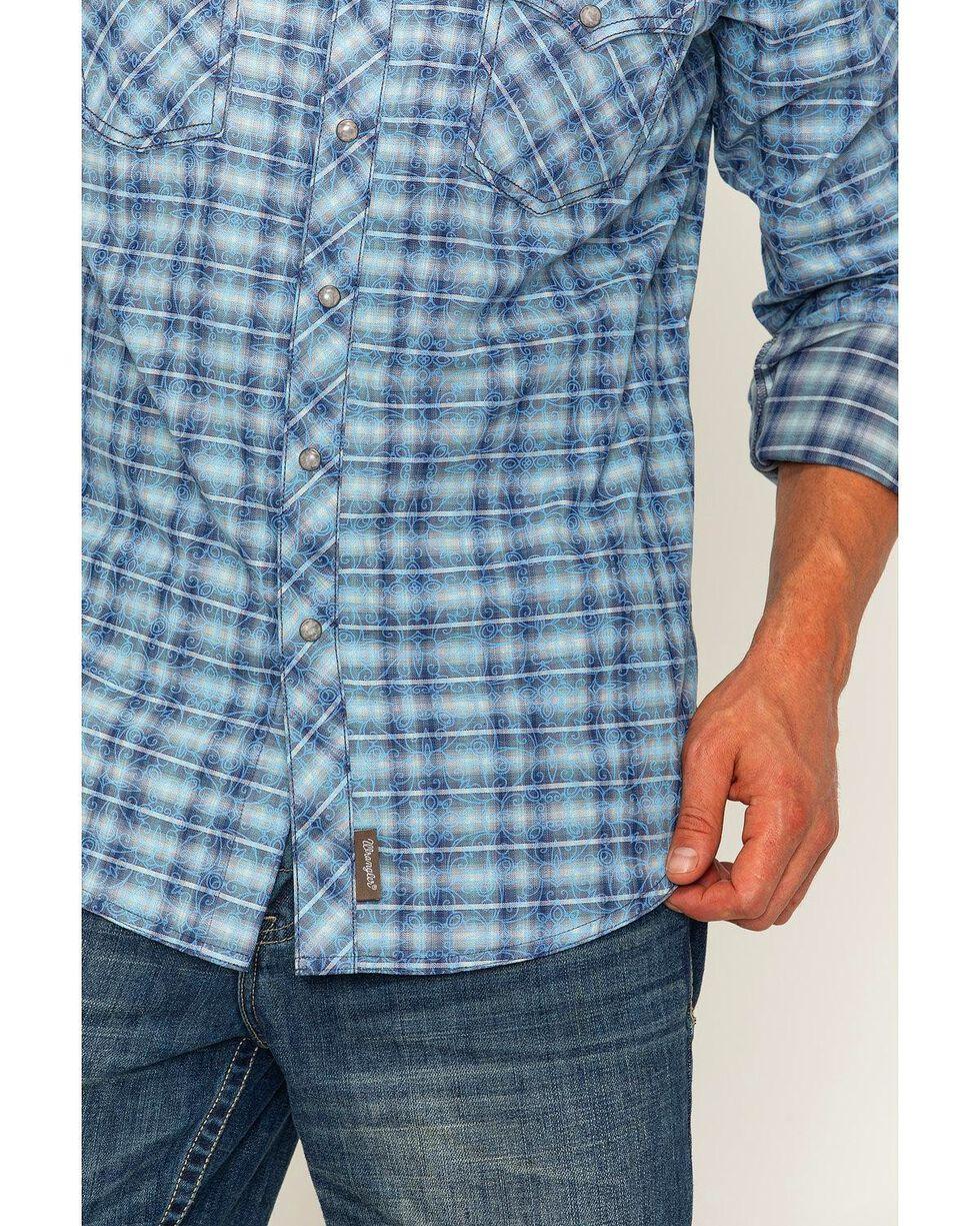 Wrangler Retro Men's Plaid with Overprint Premium Long Sleeve Snap Shirt, Blue, hi-res