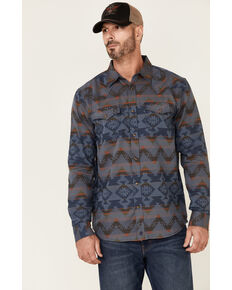 Moonshine Spirit Men's Aztec Jacquard Print Long Sleeve Snap Western Shirt , Blue, hi-res