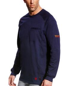 Ariat Men's FR Air Crew Long Sleeve Work Shirt, Navy, hi-res