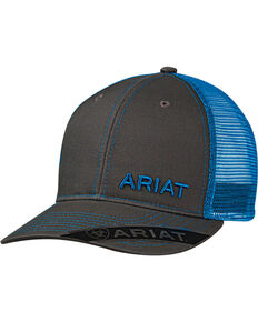 Ariat Men s Grey with Pink Offset Baseball Cap 5580514c8b4