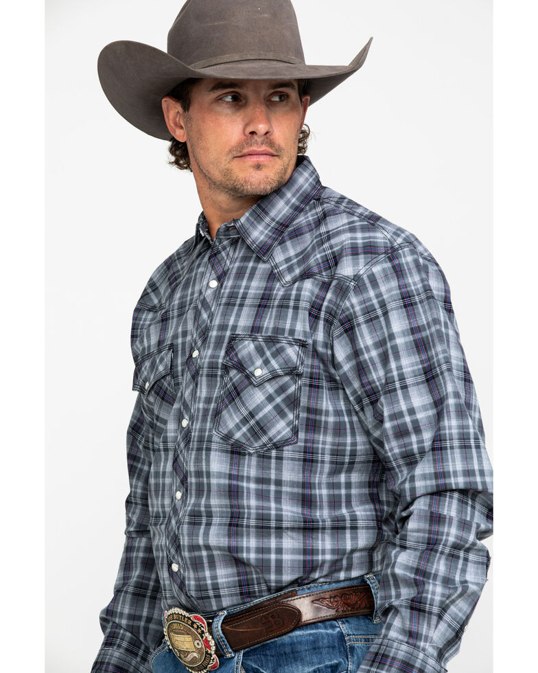 Wrangler 20X Men's Advanced Comfort Grey Plaid Long Sleeve Western Shirt , Grey, hi-res
