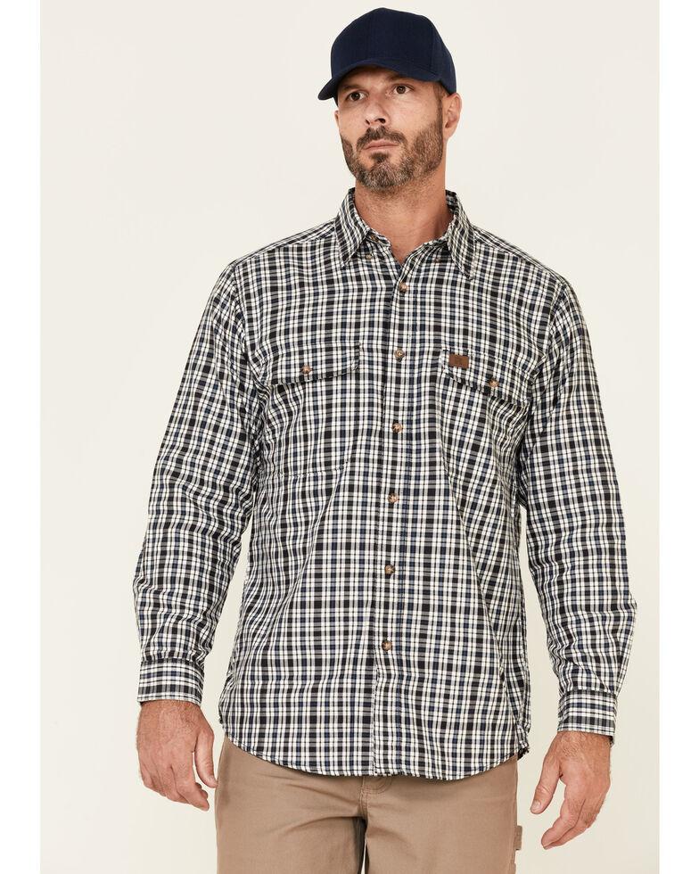 Wrangler Riggs Men's Blue & White Small Plaid Long Sleeve Button-Down Work Shirt - Tall , White, hi-res
