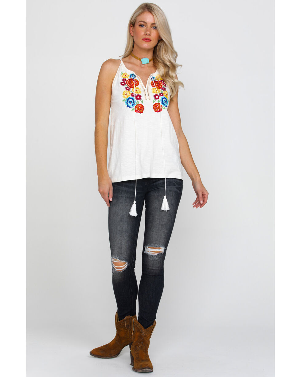 Rock & Roll Cowgirl Women's Floral Embroidered Tank  , Natural, hi-res