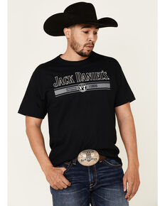 Jack Daniel's Men's Vertical Stripe Logo Graphic Short Sleeve T-Shirt , Black, hi-res