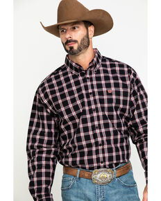 Cinch Men's Black Large Plaid Long Sleeve Western Shirt , Black, hi-res