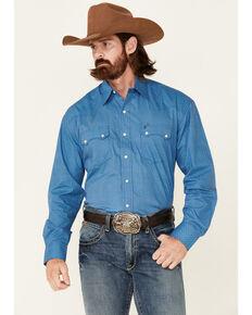 Stetson Men's Palm Foulard Small Geo Print Long Sleeve Snap Western Shirt , Blue, hi-res