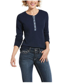 Ariat Women's Navy REAL Denim Trim Long Sleeve Top , Navy, hi-res