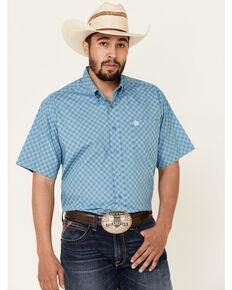 Cinch Men's Blue Diamond Print Short Sleeve Western Shirt , Blue, hi-res
