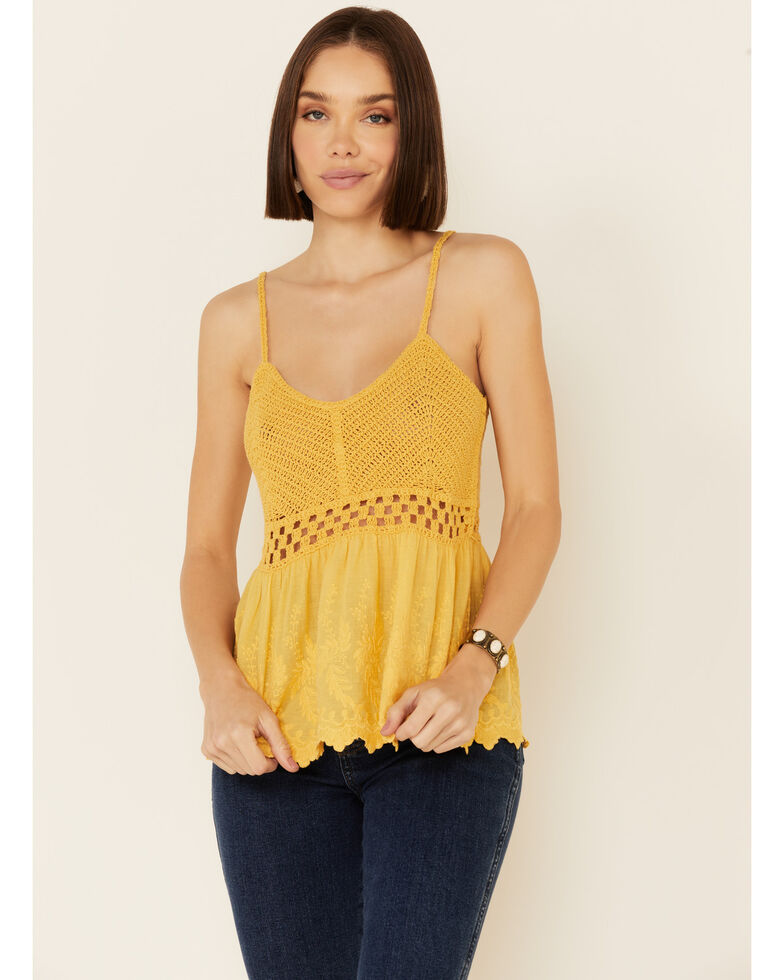 Very J Women's Crochet Embroidered Cami Tank Top , Mustard, hi-res