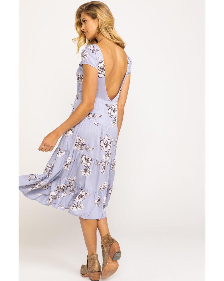 Free People Women's Rita Tiered Midi Dress, Blue, hi-res