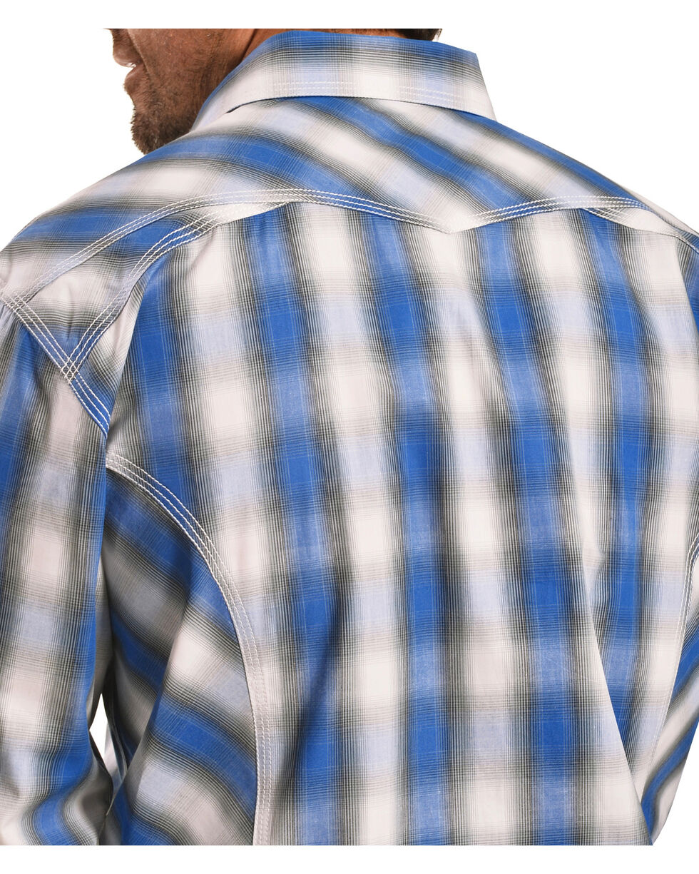 Crazy Cowboy Men's Blue Plaid Western Snap Shirt  , , hi-res