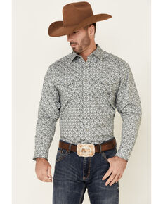 Ariat Men's Kale Stretch Bull Skull Print Long Sleeve Snap Western Shirt , Grey, hi-res