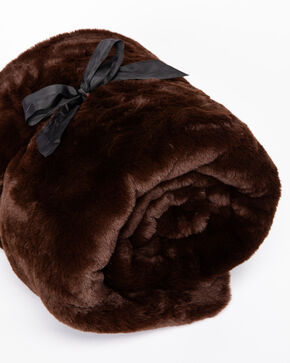 BB Ranch Brown Faux Fur Throw, Brown, hi-res