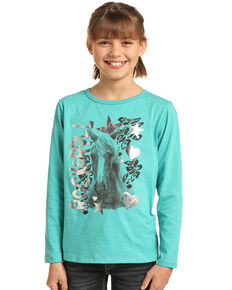 Rock & Roll Cowgirl Girls' Turquoise Horse Foil Long Sleeve Shirt, Turquoise, hi-res