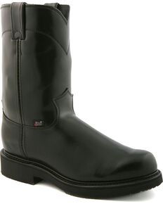 Justin Men's Black Polished EH Pull-On Work Boots - Soft Toe, Black, hi-res