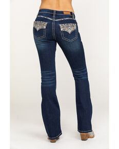 Shyanne Women's Dark Wash Faux Flap Bling Bootcut Jeans, Blue, hi-res