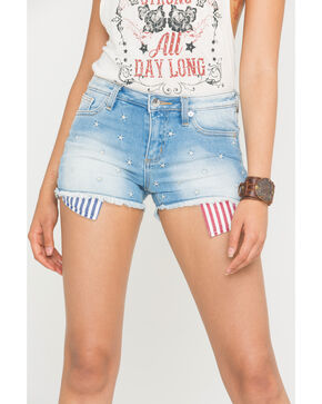 Miss Me Women's Americana Mid-Rise Denim Cutoff Shorts , Blue, hi-res