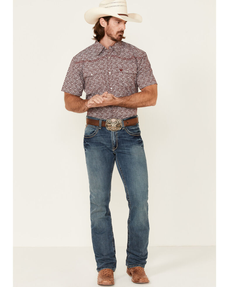 Cowboy Hardware Men's Bramble Floral Print Short Sleeve Snap Western Shirt , Burgundy, hi-res