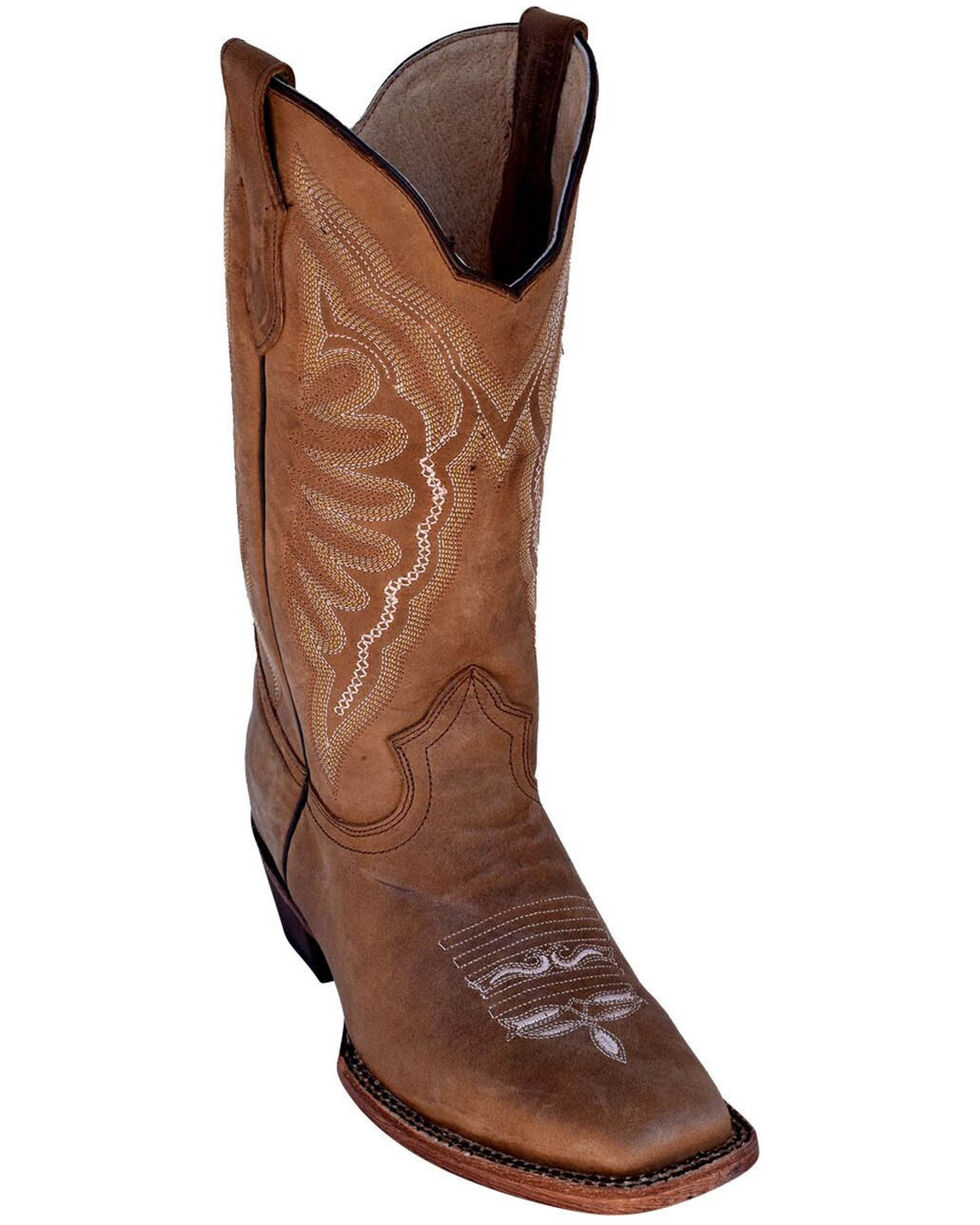 Ferrini Women's Brown Cowhide Western Boots - Square Toe, Brown, hi-res