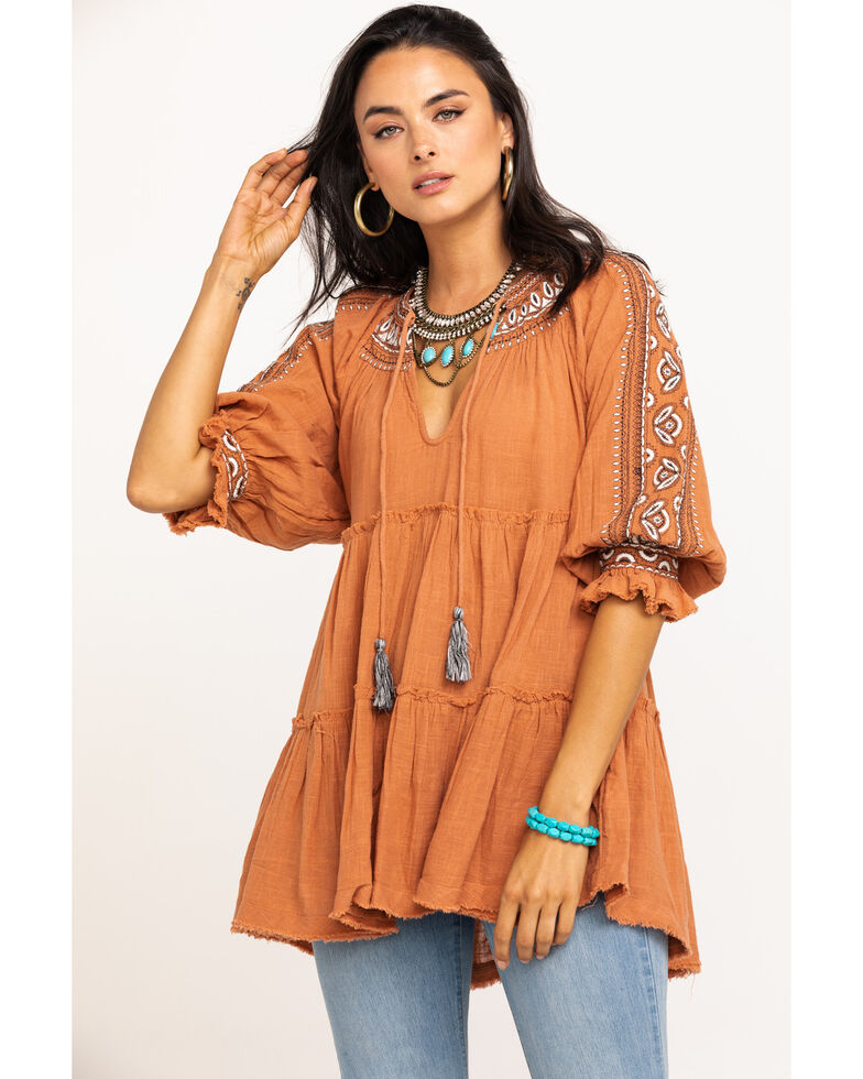 Free People Women's Dreamweaver Embroidered Tunic, Rust Copper, hi-res