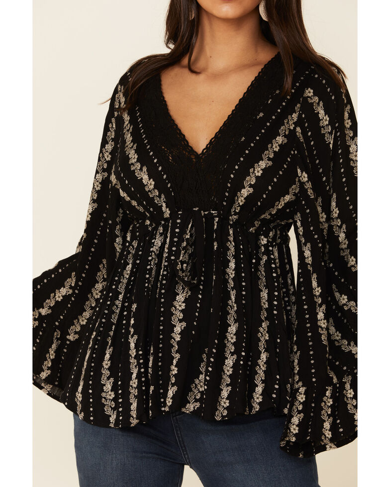 Angie Women's Black Lace Bell Sleeve Top , Black, hi-res