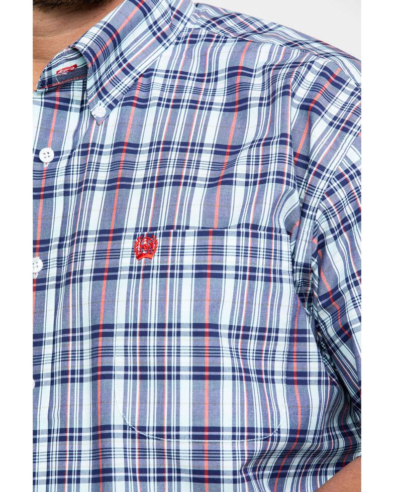 Cinch Men's Light Blue Large Plaid Short Sleeve Western Shirt - Big, Light Blue, hi-res