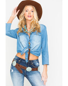 Miss Me Women's Catch Up Denim Top, Indigo, hi-res