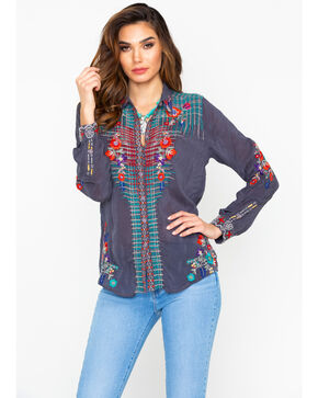 Johnny Was Women's Embroidered Plaid Button-Down Top  , Charcoal, hi-res