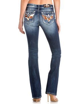 Miss Me Women's Cowprint Western Stitch Boot Jeans , Blue, hi-res