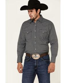 Ely Walker Men's Black Small Check Plaid Long Sleeve Snap Western Shirt - Tall , Black, hi-res