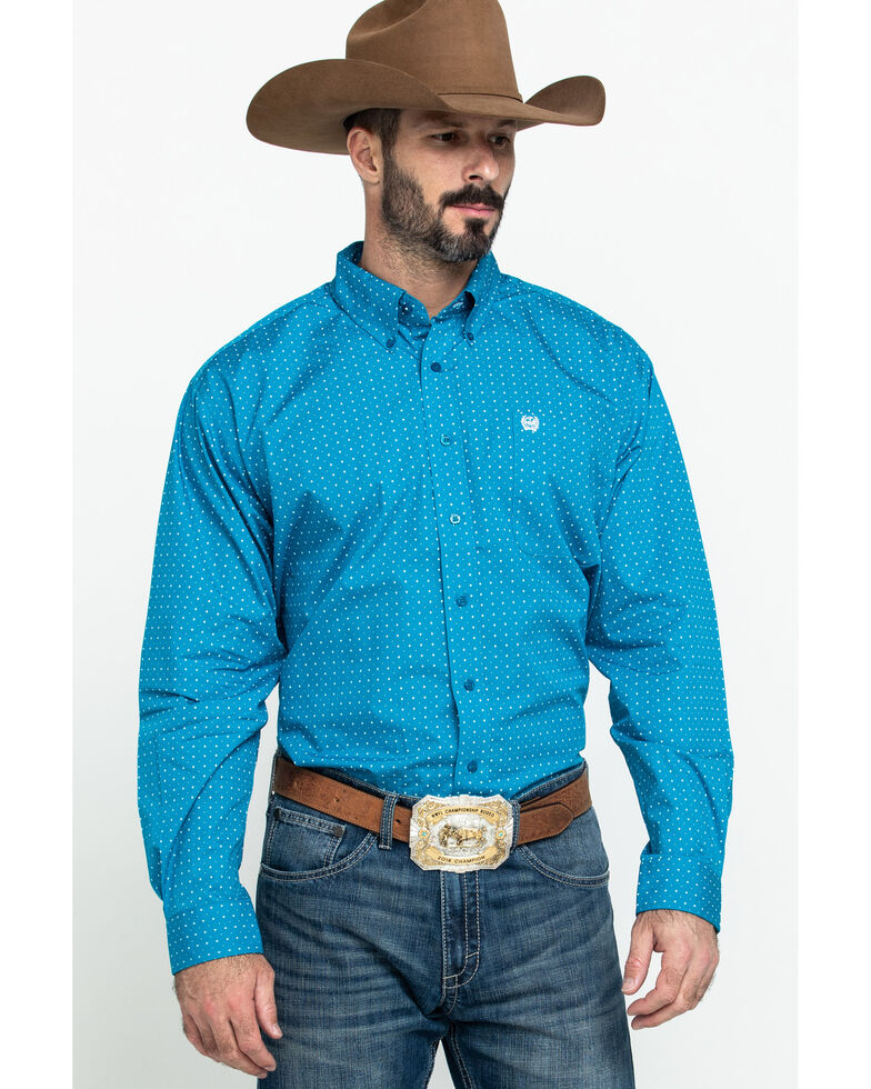 Cinch Men's Turquoise Star Geo Print Long Sleeve Western Shirt  , Turquoise, hi-res