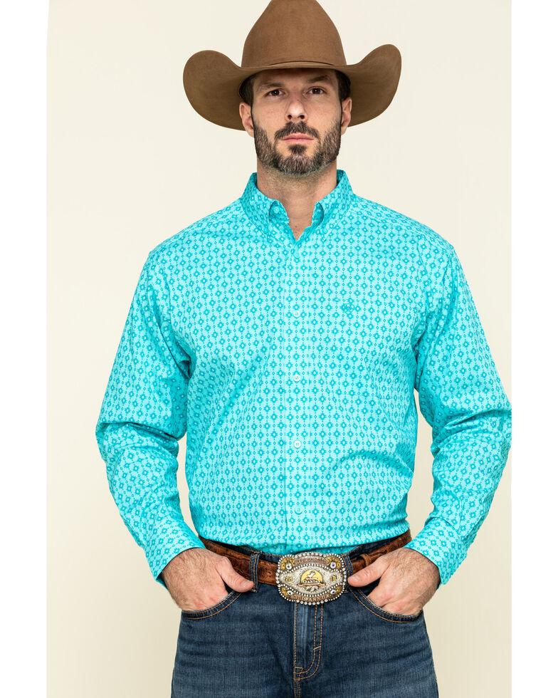 Ariat Men's Sebasopol Aztec Geo Print Short Sleeve Western Shirt - Tall , Turquoise, hi-res