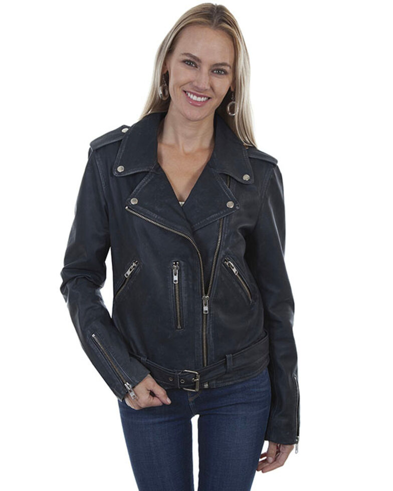 Leatherwear by Scully Women's Black Belted Motorcycle Leather Jacket, Black, hi-res