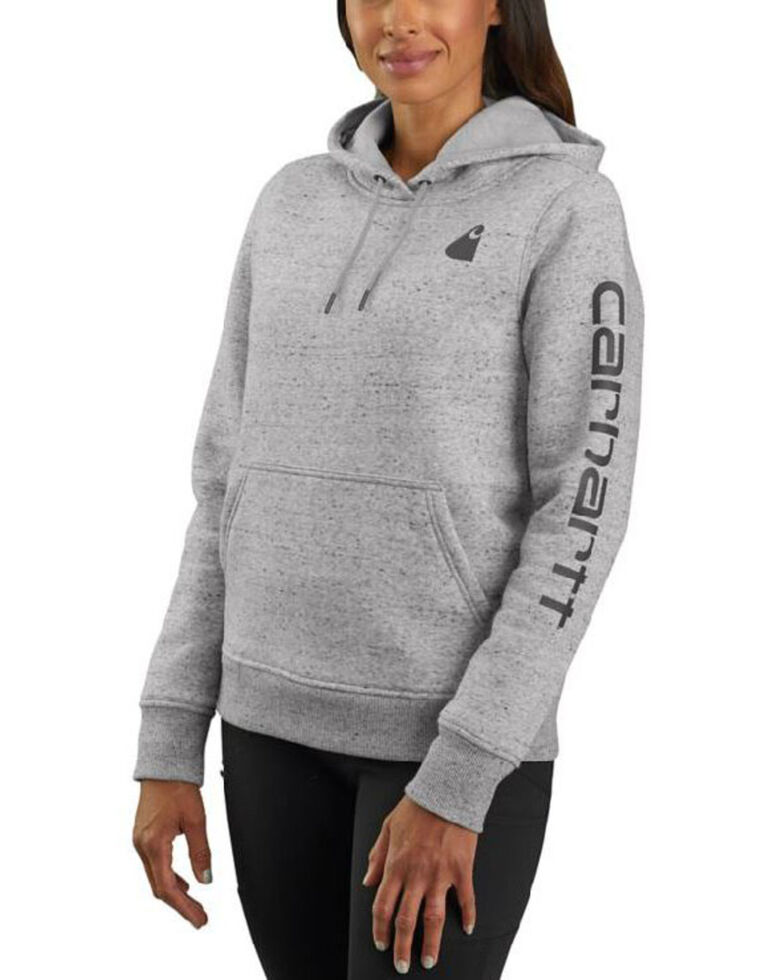 Carhartt Women's Heather Grey Clarksburg Sleeve Logo Hooded Sweatshirt , Heather Grey, hi-res
