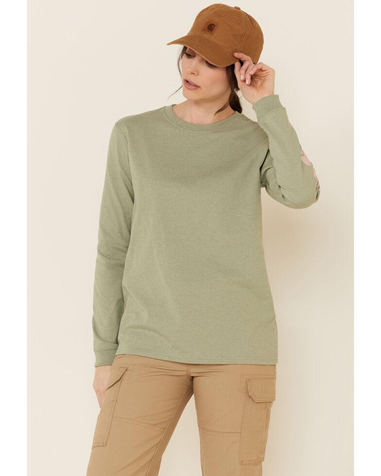 Carhartt Women's Heather Green Logo Long Sleeve Work Shirt , Heather Green, hi-res