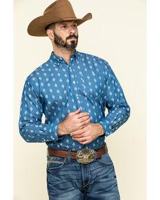 Ely Cattleman Men's Indigo Aztec Geo Print Long Sleeve Western Shirt , Indigo, hi-res