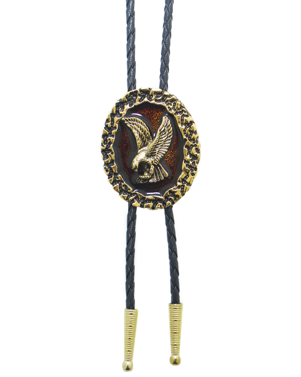 Western Express Brown Epoxy Gold Eagle Bolo Tie, Gold, hi-res